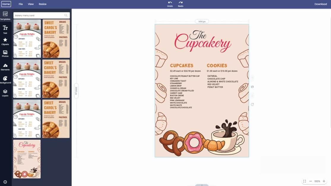 bakery-menu-card