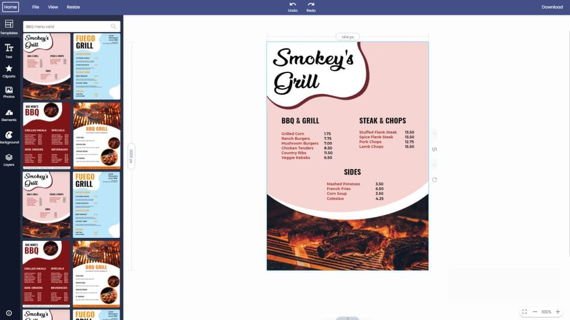 bbq-menu-card