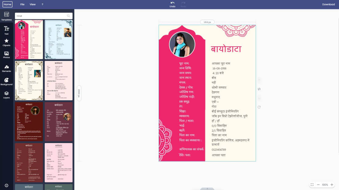 hindi biodata