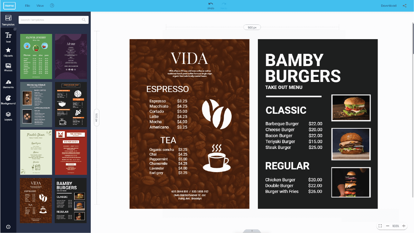 doographics menu cards design