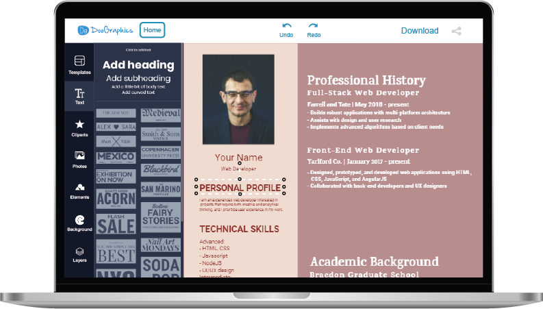 doographics professional resume templates
